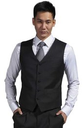 High Quality Groom Vests Charcoal Grey Groomsmens Best Man Vest Custom Made Size and Color Five Buttons Wedding Prom Dinner Waistcoat K227