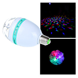 Wholesale 3W E27 Full Color LED Crystal lamp Auto Rotating Mini Stage DJ Lamp Light Bulb for xmas party H9182