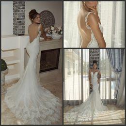 Elegant Lace Spaghetti Wedding Dresses Mermaid 2015 Tulle Backless Trumpet Sequins vestido de novia Chapel Train Bridal Gown Custom Made