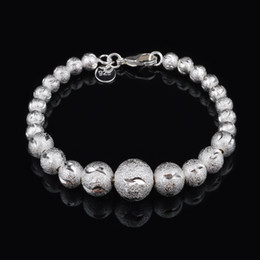 Wholesale with tracking number Top Sale Silver Bracelet Flash sand trucks colored bead Bracelet Silver Jewelry cheap