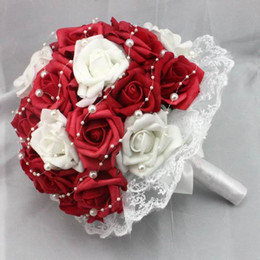 Ivory Red Foam Bridal Holding Flower Lace Decoration rose flowers Fashion Made in china wedding accessories Bridal Bouquet with Pearls