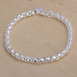 Hot sale best gift 925 silver The new circular grid Bracelet DFMCH157,brand new fashion 925 sterling silver plated Chain link bracelets