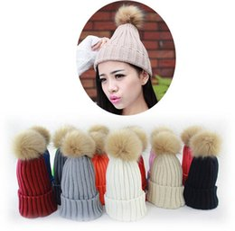 Large faux rubbit fur ball pom pom knitted hat women's winter woolen beanie hat many colors