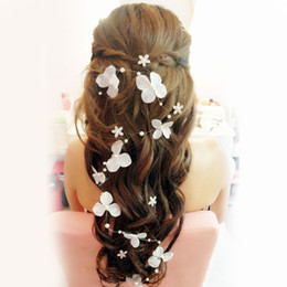 Stock 2015 Bridal Hair Accessories Handmade Butterfly Flower Headwear Bridal Headband Wedding Jewelry Pearl Bridal Hair Piece Free Shipping
