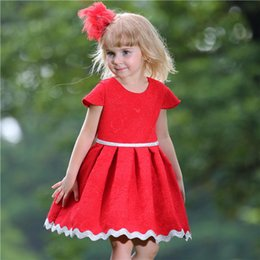 Pettigirl Christmas Baby Girls Dress For Children Clothing With White Belt And Jacquard Weave Child Princess Dress GD80613-7F