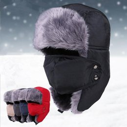 Wholesale LJJG74 Warm Winter Unisex Earmuffs Cap With Mask Thick Outdoor Ski Cap Riding windproof lei feng Hat Bomber Caps