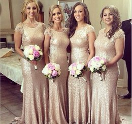 Gold Sparkly Sequined Bridesmaid Dresses With Cap Sleeve Mermaid Bridesmaid Dress Champagne Long Bridesmaid Dress Bridal Gowns LA