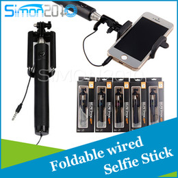 Wholesale 2015 New Audio cable Integrated Monopod wired Selfie Stick Extendable Handheld Built in Shutter and Clip for IOS iPhone Android Smart phone