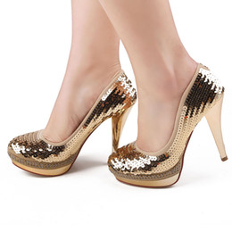 Luxury Bride Wedding Shoes High-heeled Lady Shoes Sequins Nightclub Prom Dresses Shoes DY113-1 Gold