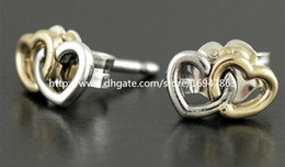 High-quality New 100% S925 Sterling Silver Stud Earrings European Pandora Style Jewelry Earrings Heart to Heart with 14K Gold Stud Earrings