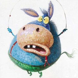 Cute Animal Donkey Rope Skipping Hand-painted Oil Painting on Canvas Mural Picture Wall Art for Home Living Bedroom Decoration
