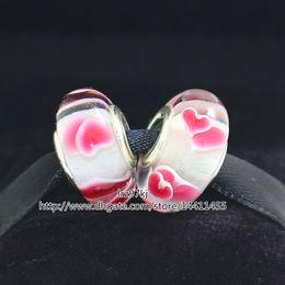 5pcs Pink Wild Hearts 925 Sterling Silver Thread Murano Glass Beads Fit Pandora European Charm Bracelets