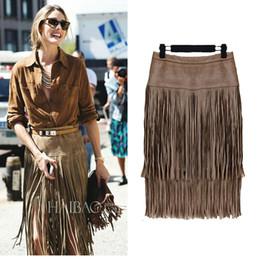 Wholesale Midi Skirt Autumn Winter American Apparel Fashion Tassel Faux Suede Leather Skirt High Waist Pencil Skirt Black Brown saia longa B86