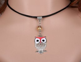 Vintage Silver Enamel Owl Necklaces Charms Black Leather Necklaces Pendant Collar Statement Choker Necklaces For Women DIY Jewelry 10pcs
