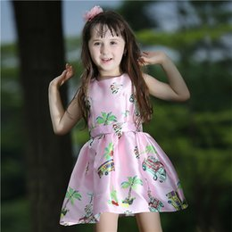 Pettigirl Pink New kids summer clothes girl With Print Floral Princess Girl Flower Dress For Children Clothing GD80727-2L