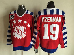 1992 All Star Ice Hockey Jerseys Cheap 19 Steve Yzerman 75th Anniversary Patch Throwback Vintage CCM Authentic Stitched Jerseys Mix Order !