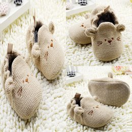 Wholesale-0-18 Infants Toddler Baby Knit Crib Shoes Newborn Boy Girl Cartoon Shoes Elastic