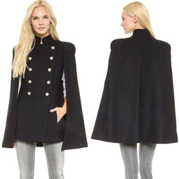 Wholesale Cheap New Best Wool Outerwear Coats With Batwing Sleeve Black Women s Double Breasted Capes Wool Blend Coat Cappa Jacket Cloak XS XL