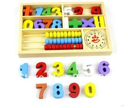 Cajas de madera relojes en Línea-Al por mayor-Freeshipping! 2015Hotselling bebé de múltiples funciones de aprendizaje digital caja de juguete bloques de madera que la alarma del reloj ábaco uno de juguete