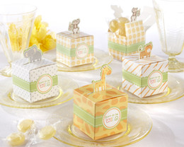 Wholesale 2014Newest Baby Shower favor boxes of Born To Be Wild Jungle Themed Favor Box Baby birthday gift Animal candy box