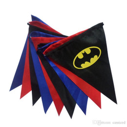 Wholesale Superhero banner party flag pieces per set red blue black superman spiderman batman satin flag kids favor birthday gift