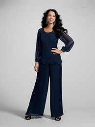 Dark Navy Chiffon Mother Bride Pant Suits with Jacket Sheer Illusion Long Sleeves Lady Formal Wear Elegant Suits for Wedding Party d115