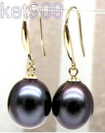 New Fine Pearls Jewelry Free shipping 10*12mm peacock black south sea pearl dangle earring 14kt yellow gold