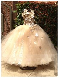 Wholesale Sparkling Spaghetti Handmade Flower Flowergirl Dresses Gold Bow Belt Bead Princess Kids Floor Length Bridesmaid Dress Girl Pageant Ballgown
