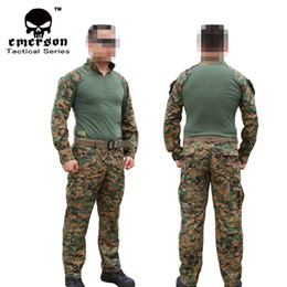 Wholesale Emerson gear Hunting Jacket amp pants Airsoft Combat Training Uniform USMC Operational Gear FROG Sets Woodland MARPAT ghillie