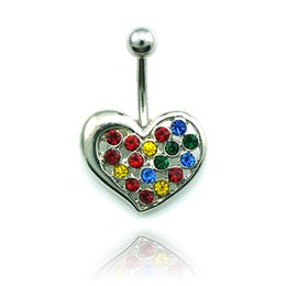 Piercing Jewelry Fashion Belly Button Ring Stainless Steel Color Rhinestone Piecing Heart Navel Rings Body Jewelry