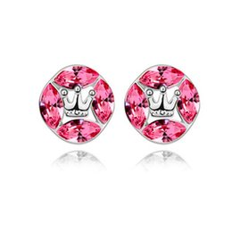 Wholesale 2015 Stud White Limited Unisex Silver Plate fill New Coming arbitrary Collocation of Jewelry Crystal Endearing Spakling Earrings hot a75