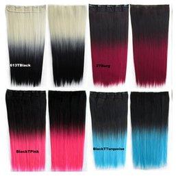Wholesale Color de pelo que teje pieza de pelo Un chip de cinco cartas gradiente lineal pieza de pelo largo pedazo del pelo recto multicolor libre envío