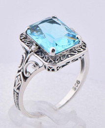 Wholesale Kate princess Diana s wedding jewelry silver luxury brand women aquamarine ring the most gorgeous national wind topaz stone silver ring