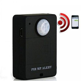 Wholesale Mini Wireless PIR Infrared Sensor Detector GSM Alarm System Anti theft PIR MP Alert A9 Infrared GSM Wireless Alarm