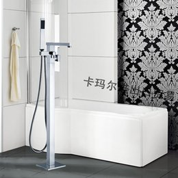 Wholesale Stand Shower Faucets - Luxury Square Chrome Brass Floor Stand Bathtubs Faucets Water Mixers Bath Crock Tap Sauna Room Sets Spa Tub Furniture Bathroom Shower Sets