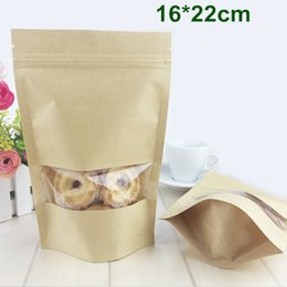 Wholesale cm Kraft Paper Packaging Bag Zipper Ziplock Stand Up Pouch Doypack Food Storage Packing Bag With Clear Window
