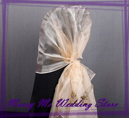 Wholesale Antique Gold Organza Sashes for Chair Organza Chair Hood Chair Cover Sash bow for Wedding Chair Bowknot