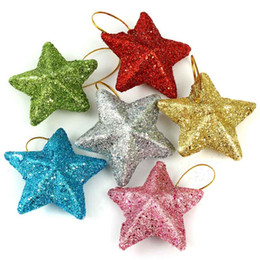 Wholesale 6pcs package Decoration Foam Star Christmas Hanging Decor Colorful Powder Mixed Snow Tree Decorations Supplies Xmas Star