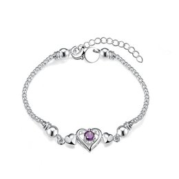 Hot sale gift 925 silver Three insets Heart Bracelet DFMCH383,Brand new sterling silver plate Chain link gemstone bracelets high grade