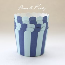 Wholesale Double Blue High temperature baking cups greaseproof paper muffin cases cupcake wrappers party supplies