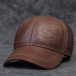 Wholesale-Genuine leather hat male first layer of cowhide autumn winter casual thermal the middle age baseball cap hat for man 30% off