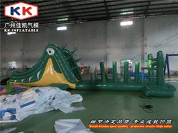 Wholesale KK Factory Air tight jumpo jungle Crocodile inflatable obstacle course for water floating park
