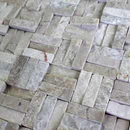 Wholesale Name European imports of natural marble beige stone mosaic close fight three horizontal and three vertical SC