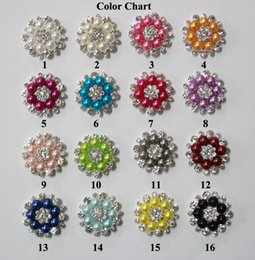 Free Shipping Wholesale 28mm 48pcs lot Flatback Rhinestone Button With Pearl For Hair Flower Wedding Embellishment LSRB05018