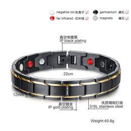 Wholesale in Bio Men European Titanium Steel Energy Magnetic Germanium Therapy Radiation Fatigue Health Bracelet