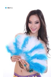 Wholesale 2015 Rushed Top Fashion Decorations m Chinese Navidad Casamento Advanced Belly Dance Fan Turkey Feather Colorful