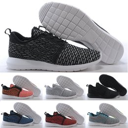 Wholesale 2015 Discount fashion Roshe run Flyknit shoes Men s Women s London Olympic Rosherun knit Running sporting walking