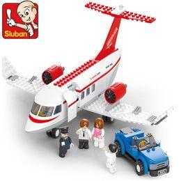Wholesale Sluban Airplane Building Set Building Blocks Enlighten Bricks Compatible Airport Express Model construction kids toys for children