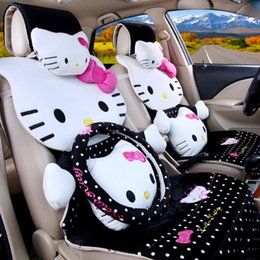 Wholesale 19pcs fashion polka dot hello kitty cute cartoon seats covers for car female car auto chairs front and back seats covers car acessories