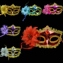 Wholesale Halloween dance party mask festival in Venice painted goggles tip side with flower